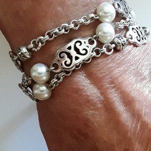 BRIGHTON Scroll  & Pearl Silver Bracelet GENEVA